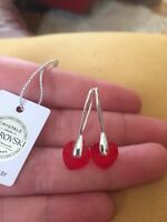 Sterling Silver Earrings With Red Heart Crystals From Swarovski RRP £75 BNWT