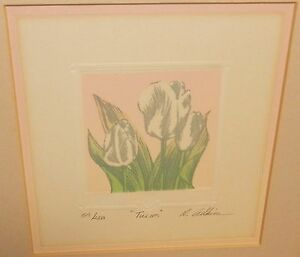 "ROBERTA ADKINS ""TULIPS"" LIMITED EDITION COLOR ETCHING WITH C.O.A."