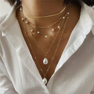 2021 Bohemian Multilayer Long Necklace Women's Imitation Pearl Necklace Top