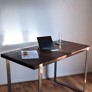 Industrial Solid Steel Wood Desk - Modern Rustic Vintage