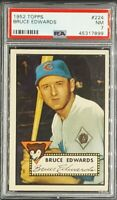 1952 Topps #224 Bruce Edwards Chicago Cubs PSA 7 Near Mint