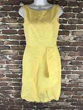 ALEX MARIE Womans Dress Sz 2 Yellow Linen Blend Lined Sleeveless Pleated