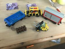 Lego Train 9v 4563 used goods wagons and fork truck.