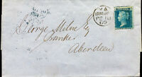 GB QV 1860 SCOTTISH COVER TWO PENCE BLUE 2d FROM EDINBURGH TO ABERDEEN 18TH FEB
