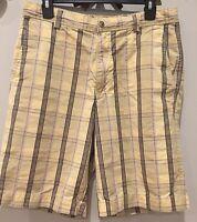 TOMMY BAHAMA Classic Fit Yellow Plaid Cotton & Silk Shorts Men's Size 32 Waist