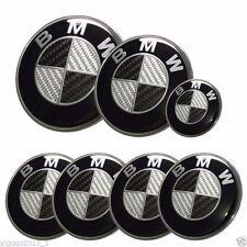 7x BMW² emblem SET Carbon Fiber Black/White Emblem Logo For-BMW e60 e90 e46 f10