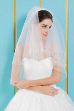 HBH 2 Schicht Brautschleier aus Tüll,mit Blüten/Perlen bestickt,Länge:60cm/80cm