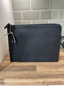 BNWT JAEGER WOMENS REAL LEATHER BLACK EXTRA LARGE CLUTCH TABLET BAG RRP £65
