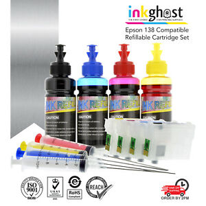 Inkghost 138 Refillable Cartridge Set for Epson Workforce 840 845 NX635 Not OEM