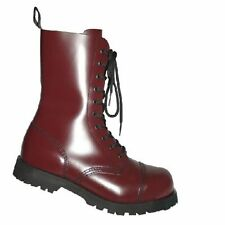 Boots & Braces Steel Toe Boot NEW 10 Eyelet Leather Screw Sole Burgundy Size UK6