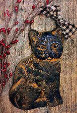CAT Blackened Beeswax Cinnamon Scented Folk Art Primitive Barn House