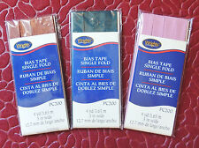 """4yd Single Fold Bias Tape 1/2"""" Wrights PC200 Neon Red Brown Green Blue or Mauve"""