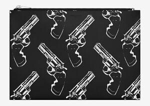 SAINT LAURENT YSL Gun Pop Print Zipped Clutch Bag Pouch in Black & White Leather