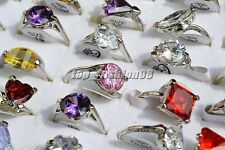 Wholesale Lots 25pcs 100% Zirconia Silver Plated Wedding Rings Jewelry FREE