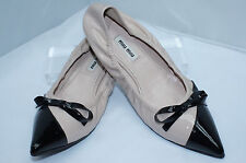New Miu Miu Shoes Ballet Flats Size 39.5 Women's Black Beige Slip Ons Leather
