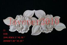 20*9cm Wood Carved Long Onlay Applique Unpainted Rose Flower Craft I1 QTY.10