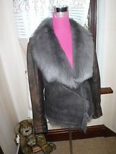 Stunning All Saints Mures Sheepskin Leather Jacket Size 12 BNWOT