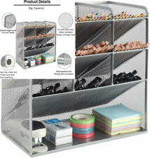 More details for easypag office 4 tier mesh desk tidy versatile stationery storage silver