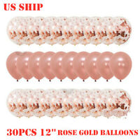 US!30PCS 12'' Rose Gold Confetti Foil Balloons Party Birthday Wedding Decor Sets