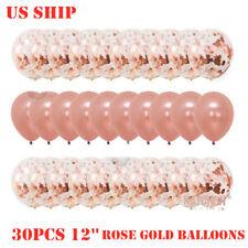 US!30PCS 12'' Rose Gold Confetti Foil Balloons Party Birthday Wedding Decor Sets