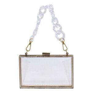 Women Acrylic Clear Clutch Transparent Crossbody Purse Evening Bag Sport Events