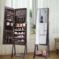 Large LED Mirror Jewelry Cabinet Armoire Lockable w/ 2 Drawers Storage Shelf