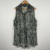 City Chic Womens Top XL Plus Size Black Floral Sleeveless Button Front Sheer