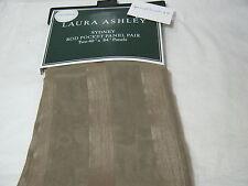 New Laura Ashley SYDNEY Rod Pockets Sheer Window Panels 2 (40x84) Taupe Stripe