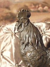 * True Bronze Metal Statue Marble Base Rooster Cock Farm Fowl Kitchen HOUSE GIFT