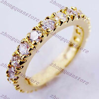 3MM AAA White Zircon Ring Wedding Band 10KT Yellow Gold Filled Jewelry Size 6-10