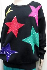 ELISABETH LIZ CLAIBORNE BLACK WOOL BLEND SWEATER WITH SEQUINNED STARS SIZE 1(22)