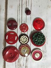 Lot Of 10 Unique VINTAGE ANTIQUE BUTTON COLLECTIBLE CRAFT  SEWING PROJECTS REDS