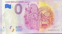 BILLET 0  EURO CASA BATLOO GAUDI ESPAGNE 2020   NUMERO 401