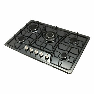 "Big Sell!30"" 5 Burners Built-In Black stainless steel CookTop Gas Stove NG/LPG"