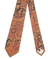 Bullock & Jones ITALY Brown Red Yellow Paisley Ancient Madder Brocade Silk Tie
