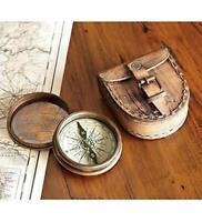 Brass Maritime Vintage Style Pocket Compass Nautical Strap w/ Leather Case Decor
