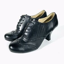 Bass Women's Black Faux Leather Lucia Lace up Heels Wing Tip Brogue Size 9M