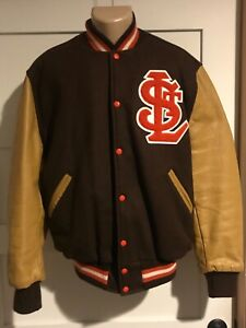 Vtg St. Louis Browns Mitchell & Ness quilted Baseball Jacket coat sz L Leather