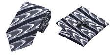 Black Gray Novelty 100% Silk Classic Mens Necktie Tie Hanky Cufflink Set NT278