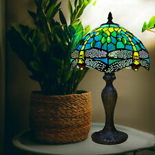More details for tiffany lamps stained glass green dragonfly style crystal bead handcrafted shade