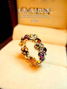 18K Rose Gold GP Emerald Green Simulated Diamond Wedding Band Ring SZ 8 Gift