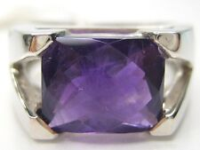 6/ L1/2  3.17CT VINTAGE NATURAL AMETHYST MENS 925 STERLING SILVER RING
