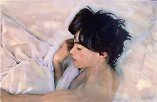 "WILLIAM OXER ORIGINAL CANVAS ""Requiescence"" pretty woman girl lady bed PAINTING"