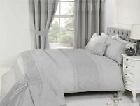 EMBROIDERED FLORAL PLEATS SILVER COTTON BLEND SUPER KING DUVET COVER