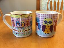 Stacking Coffee Mugs. Hoot Owls. Creative Tops. Pink. So Cute. New.