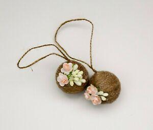 SET OF TWO Kissing Balls pink Handmade Wedding Pomanders, Pomander Balls Hanging