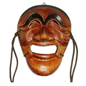 Vintage Wood Mask Korean Traditional HaHoe Tal Yang-ban Festivals Face Size
