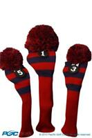 Tour 1 3 5 Driver Fairway Wood Red & Blue Golf Headcover Knit Pom Pom Cover