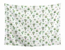 Pink Green Boho Watercolor Cactus Floral Wall Hanging Tapestry Art Room Decor