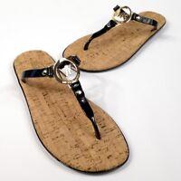 Michael Kors Black Brown Charm Cork Jelly Flip Flops Sandals Women's Sz 8 M New